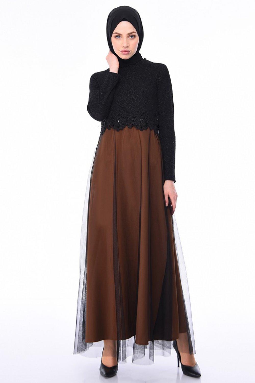 Sefamerve Siyah Taba Simli Abiye Elbise