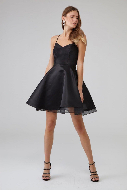 Keikei Askılı Siyah Saten Mini Abiye Elbise