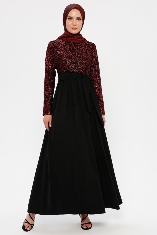 Filizzade Bordo Siyah Flok Baskılı Abiye Elbise