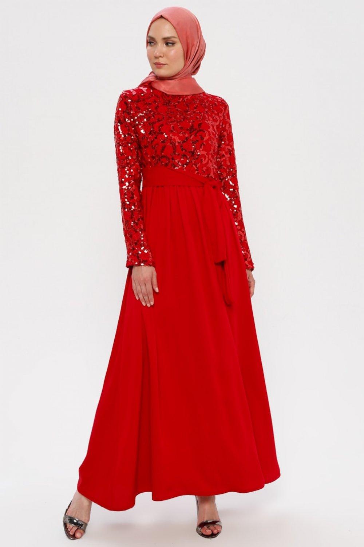 Filizzade Kırmızı Payetli Abiye Elbise