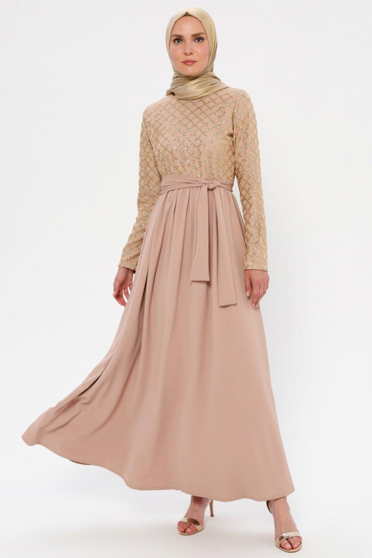 Filizzade Gold Dore Simli Abiye Elbise