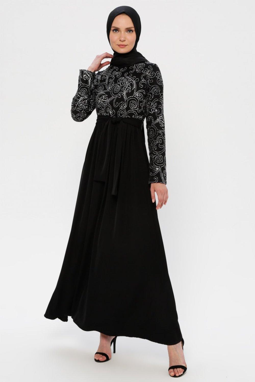 Filizzade Gümüş Siyah Flok Baskılı Abiye Elbise
