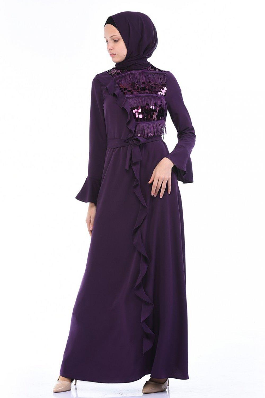 Sefamerve Mor Payet Püsküllü Elbise