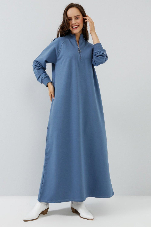 Everyday Basic Derin Mavi İndigo Fermuar Detaylı Spor Elbise