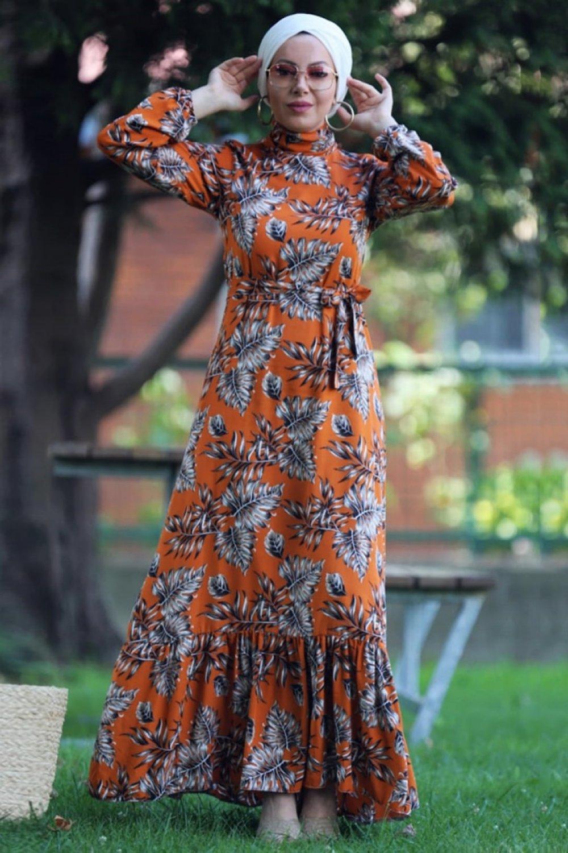 Esra Üstün Tarçın Çiçekli Desenli Elbise