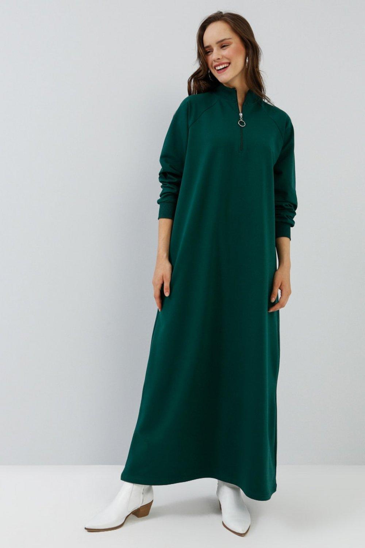 Everyday Basic Koyu Yeşil Fermuar Detaylı Spor Elbise