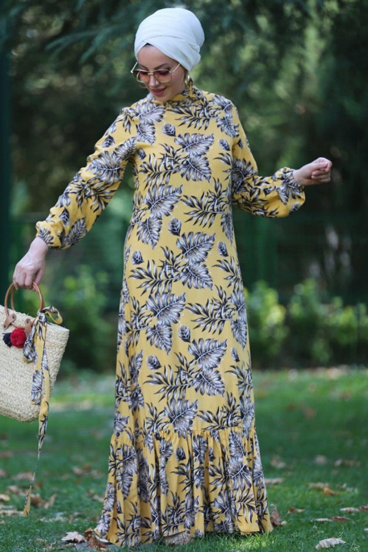 Esra Üstün Sarı Çiçekli Desenli Elbise