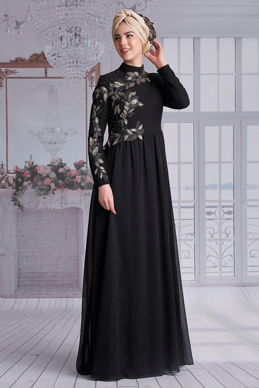Nurkombin Siyah Melisa Abiye Elbise