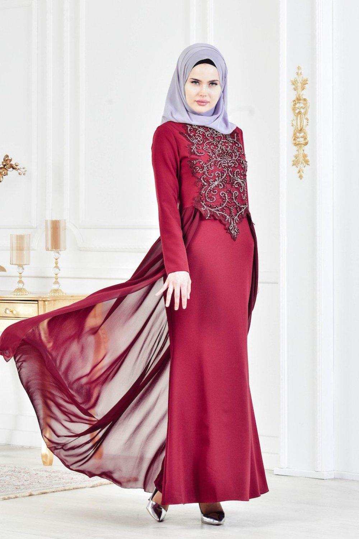 Sefamerve Bordo Taş İşlemeli Abiye Elbise