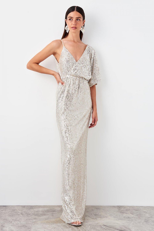 Trendyolmilla Askılı Gümüş Payetli Kruvaze Yaka Uzun Abiye Elbise