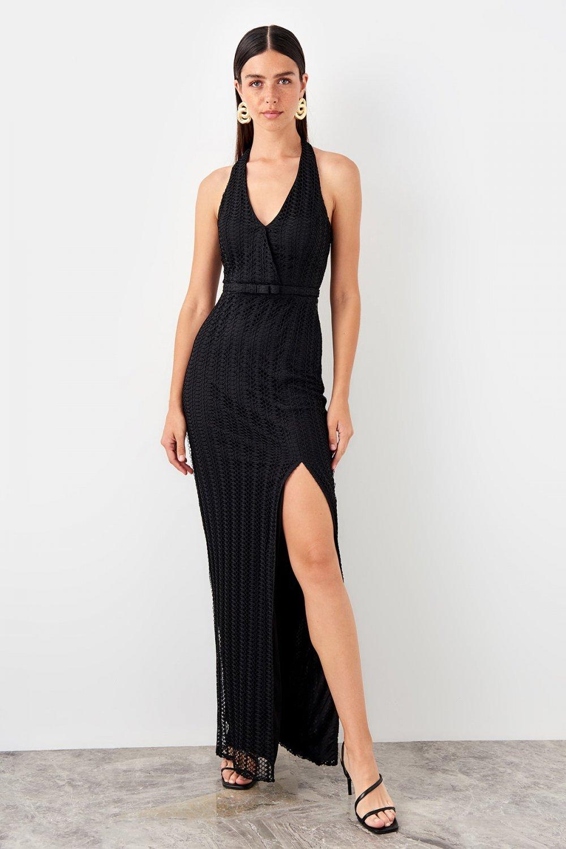 Trendyolmilla Askılı Siyah Yırtmaç Detaylı Uzun Abiye Elbise