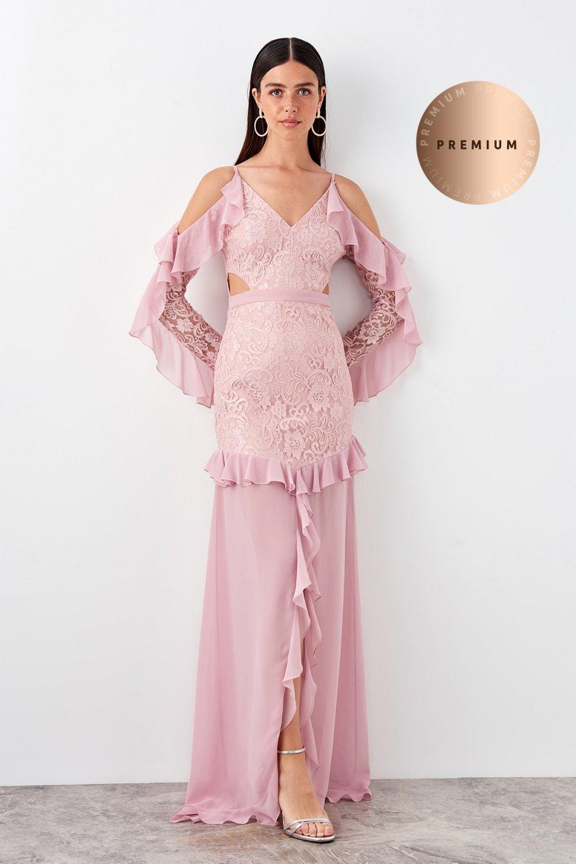 Trendyolmilla Askılı Pudra Volan Detaylı Uzun Abiye Elbise