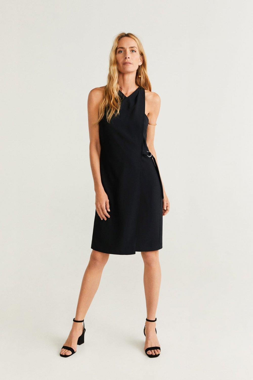 Mango Siyah Yandan Tokalı Mini Abiye Elbise