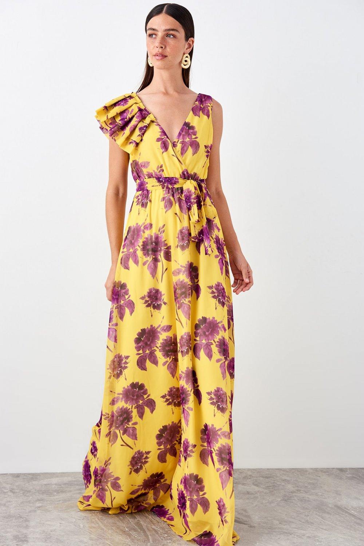Trendyolmilla Renkli Fırfır Detaylı Uzun Abiye Elbise