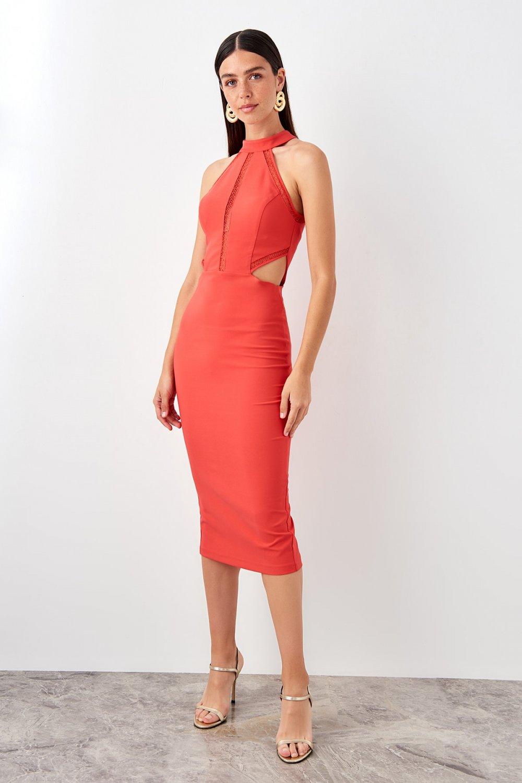 Trendyolmilla Kırmızı Bel Dekolteli Midi Abiye Elbise