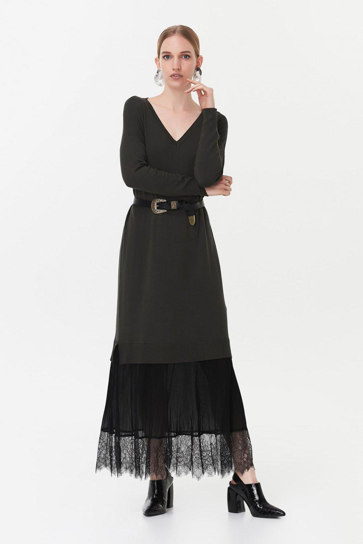 İpekyol Haki Dantel Şeritli Uzun Triko Elbise