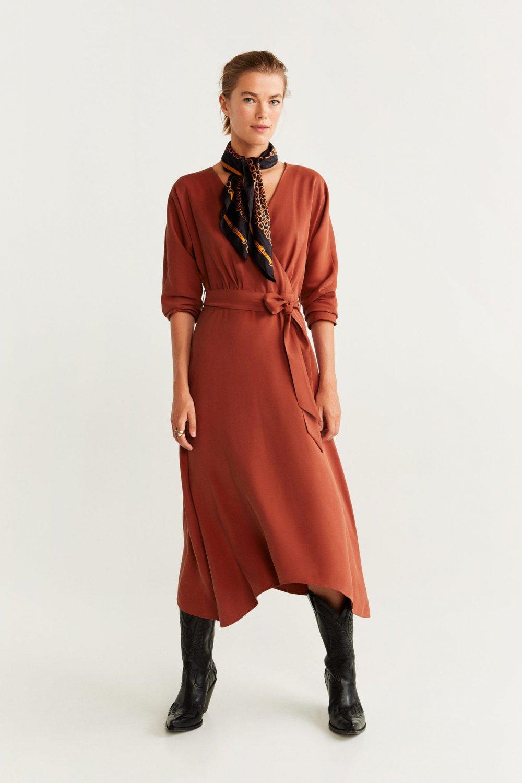 Mango Kızıl Kahverengi Fiyonklu Anvelop Midi Asimetrik Elbise
