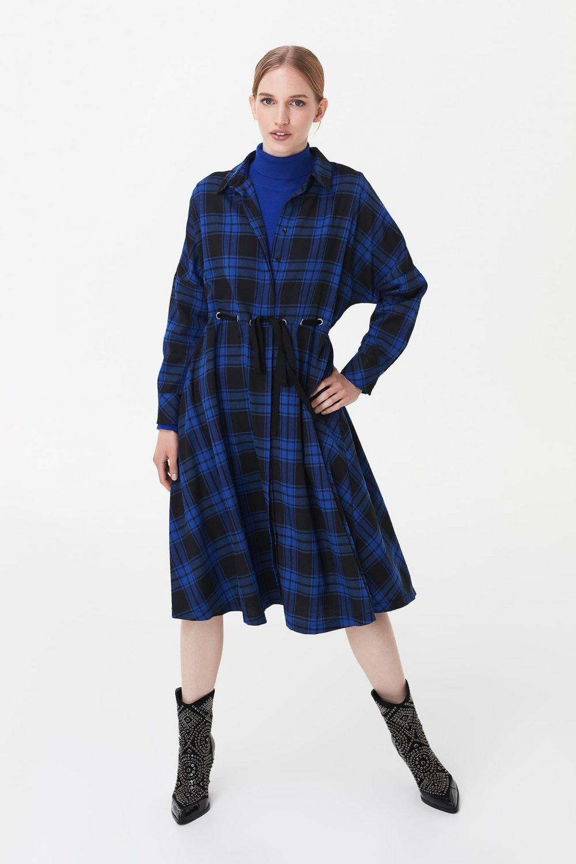 İpekyol Lacivert Ayarlanabilir Bel Midi Gömlek Elbise