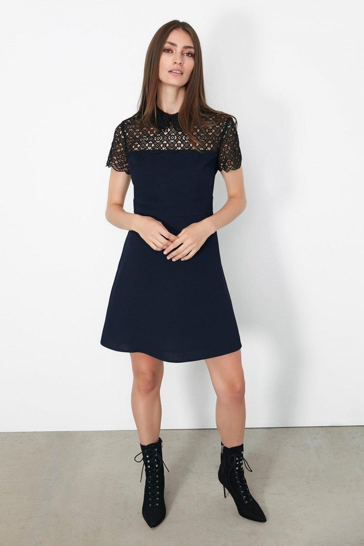 İpekyol Lacivert Güpür Mixli Mini Elbise