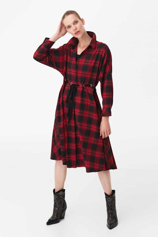 İpekyol Kırmızı Ayarlanabilir Bel Midi Gömlek Elbise