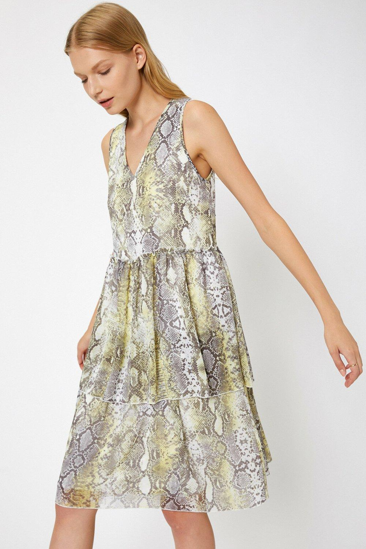 Koton Yılan Derisi Desenli Gri Midi Elbise