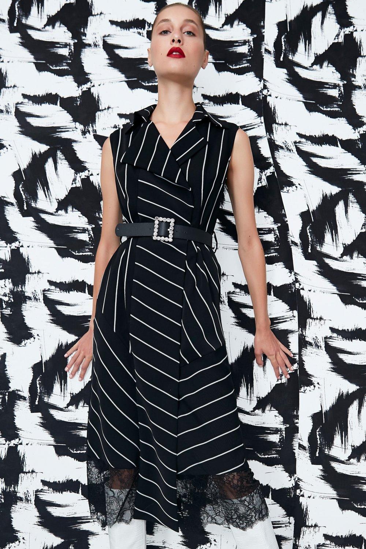 İpekyol Siyah Dantel Mixli Anvelop Midi Gömlek Elbise