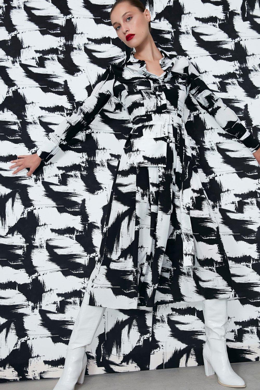 İpekyol Ekru Fırça Desen Midi Elbise