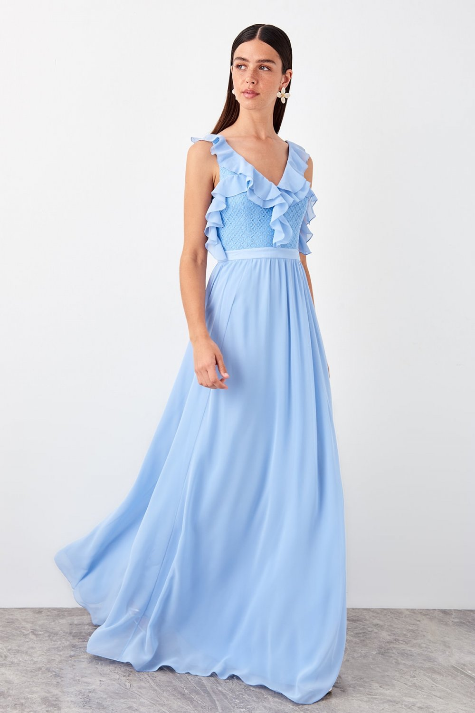 Trendyolmilla Mavi Fırfır Detaylı Uzun Abiye Elbise