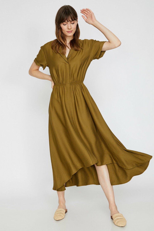Koton Fırfır Detaylı Haki Uzun Elbise