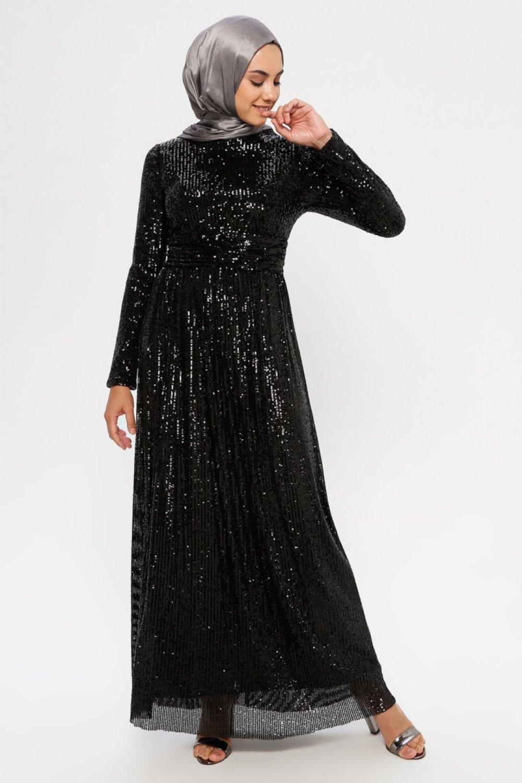 Puane Siyah Pul Detaylı Abiye Elbise