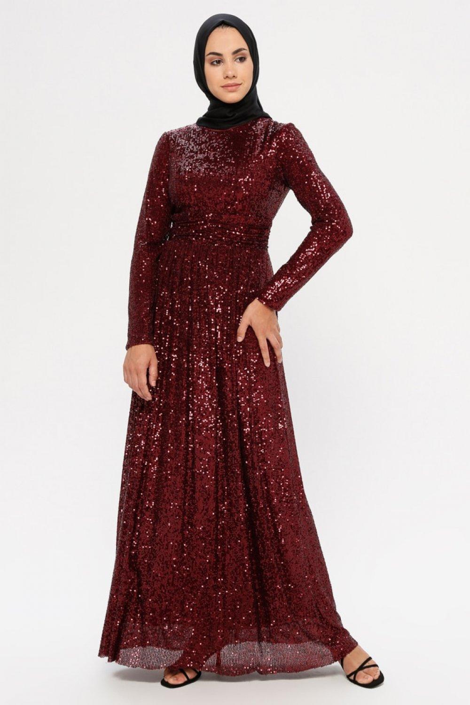 Puane Bordo Pul Detaylı Abiye Elbise