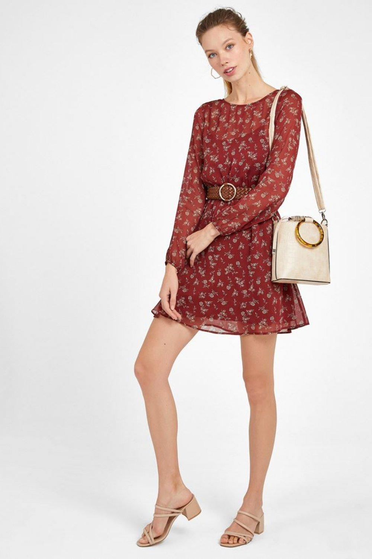 Oxxo Renkli Desenli Mini Elbise