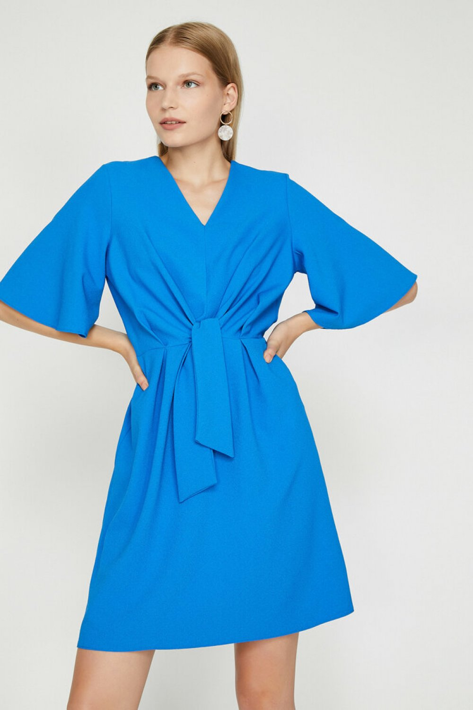 Koton Büzgülü Mavi Mini Elbise