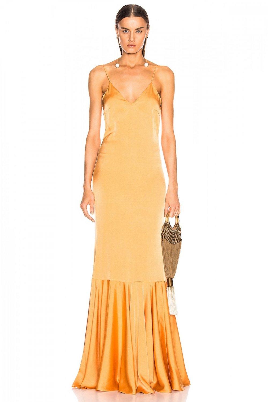 By Umut Design Askılı V Yaka Volanlı İpek Chanel Saten Uzun Abiye Elbise
