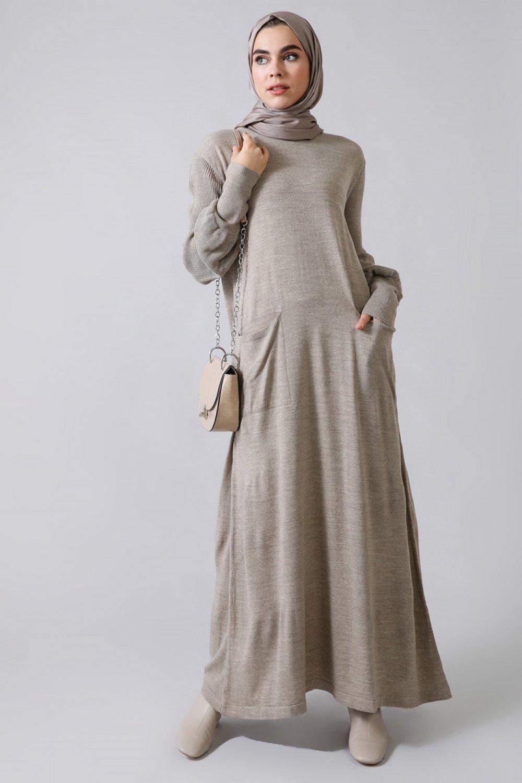 Refka Vizon Balon Kol Detaylı Cepli Triko Elbise