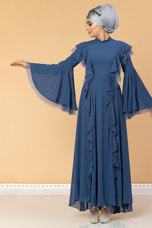 Moda Ravza İndigo Fırfırlı Tüllü Abiye Elbise