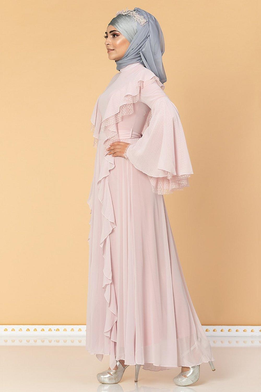 Moda Ravza Pudra Fırfırlı Tüllü Abiye Elbise
