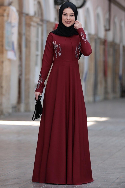 Rana Zenn Bordo Abiye Elbise