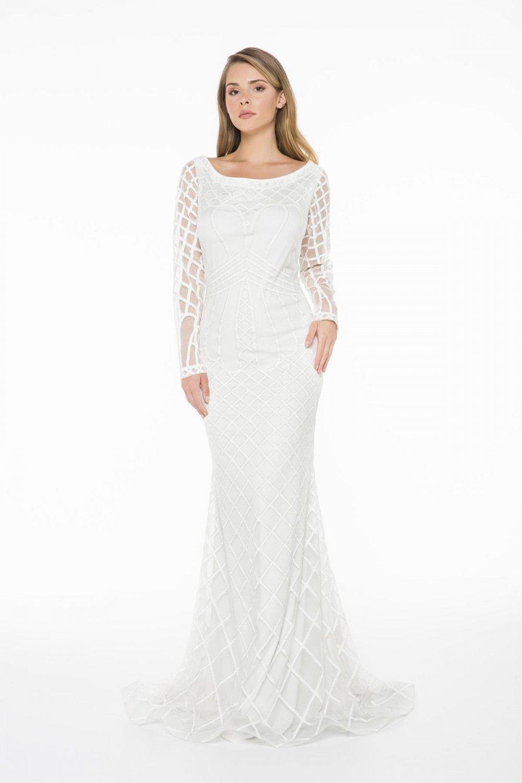 Ladyness Beyaz Desenli Uzun Abiye Elbise
