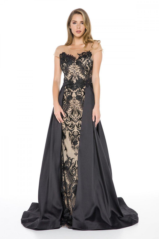 String125 Ten Siyah Kuyruklu Uzun Abiye Elbise