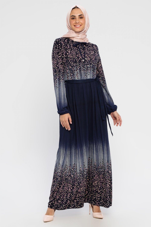 ECESUN Lacivert Pudra Karışık Desenli Elbise