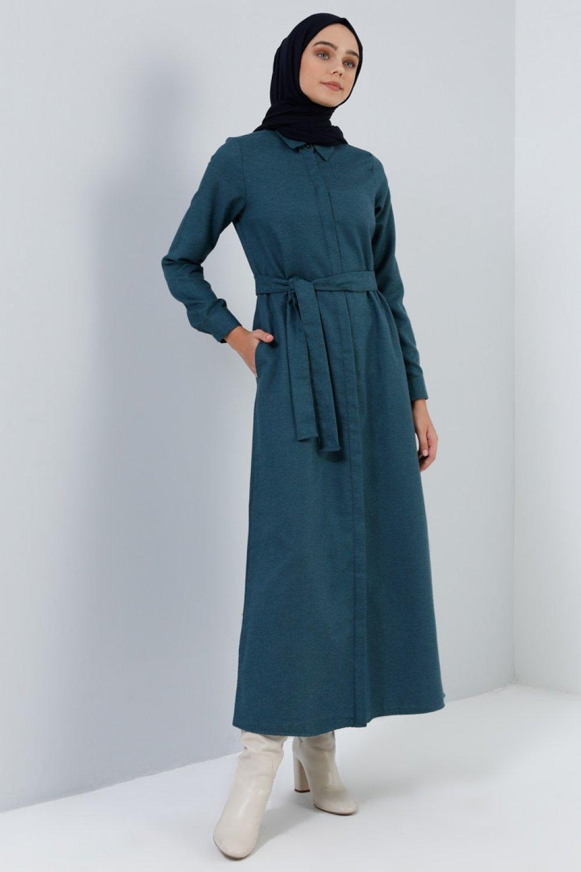 Benin Koyu Yeşil Boydan Gizli Düğmeli Cep Detaylı Elbise