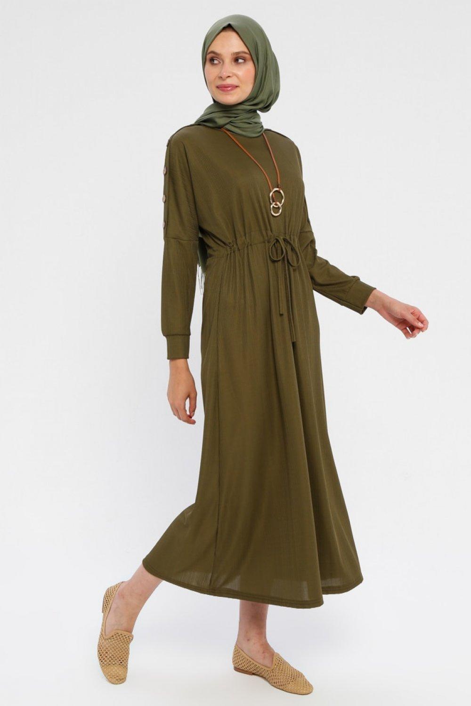 Topless Haki Omuzları Düğme Detaylı Elbise