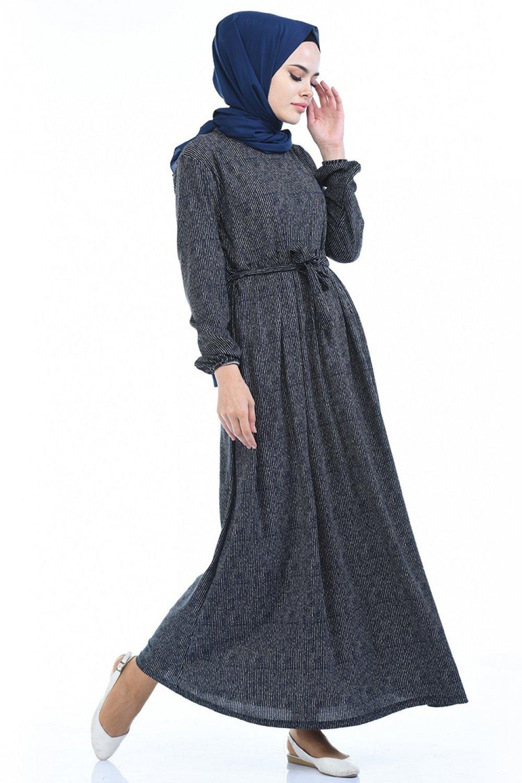 Sefamerve Lacivert Kolu Lastikli Elbise