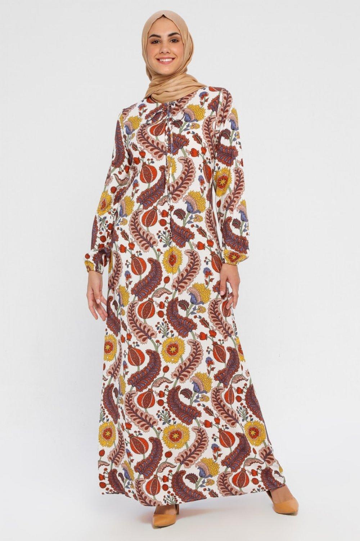 Topless Ekru Karışık Desenli Elbise