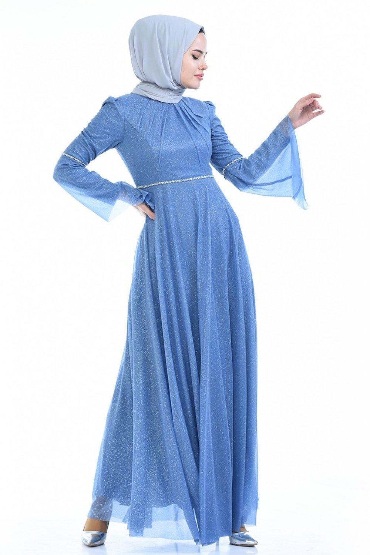 Sefamerve Mavi Simli Abiye Elbise