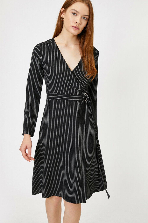 Koton Çizgili Siyah Mini Elbise