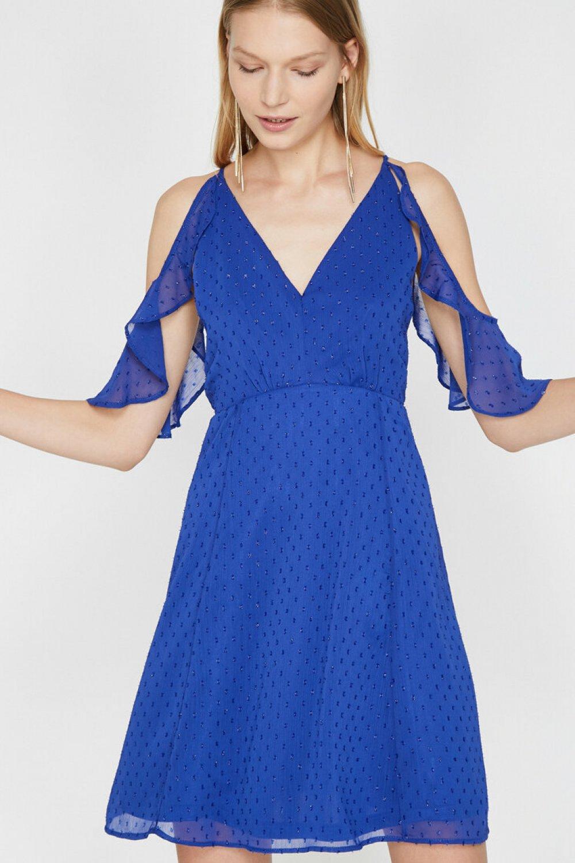 Koton Askılı İşlemeli Mavi Mini Elbise