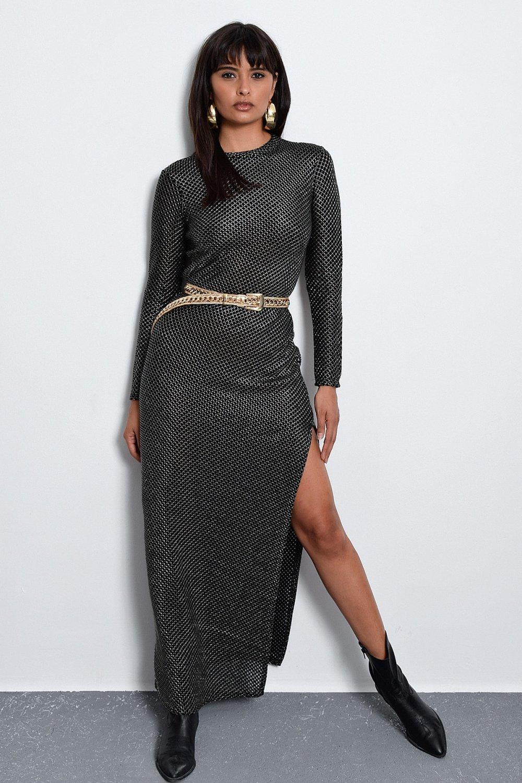 Cool & Sexy Siyah-Gold Yırtmaçlı Uzun Elbise