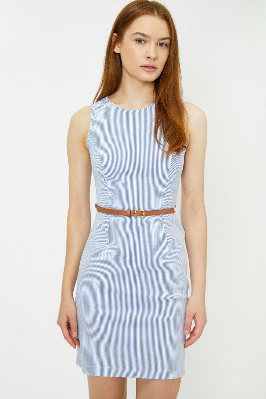 Koton Kemer Detaylı Lacivert Çizgili Mini Elbise